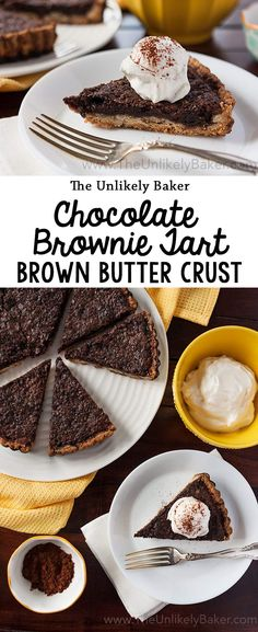 Soft, chewy filling and a delicious, crunchy crust - this chocolate brownie tart. Soft, chewy filling and a delicious, crunchy crust - this chocolate brownie tart with brown butter crust is a dessert fit for any celebration. Tart Recipes, Best Dessert Recipes, Brownie Recipes, Chocolate Recipes, Easy Desserts, Baking Recipes, Cookie Recipes, Delicious Desserts, Cheesecake Recipes