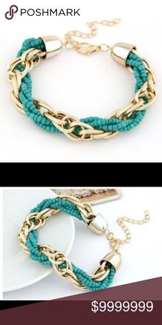 Gold Tone & Teal Chain & Mini Bead Weaved BraceletAll Prices Are Firm Unless Bundled  I Offer 30% Off All Bundles of 2+  Jewelry Bracelets