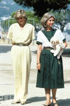 August 9, 1987: Princess Diana and the Queen Sofia of Spain at the Marivent Palace in Majorca.