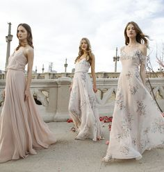 Chiffon Bridesmaid Dresses in a mix of blush and floral print by Jenny Yoo