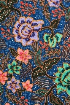 Picture of Detail of batik pattern with lavender and green flowers stock photo, images and stock photography. Batik Art, Batik Prints, Textile Prints, Textile Patterns, Print Patterns, Textiles, Henna, Indonesian Art, Batik Pattern