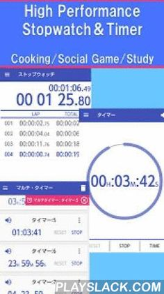 """Multi Timer - Stopwatch Timer  Android App - playslack.com ,  ■ OverviewHigh-performance full is a free timer app.Basic stopwatch, timer from,Until the simultaneous operation timers and active in various situations.""""I want to measure the time as a stop watch for running""""""""I want to use as a kitchen timer""""""""I want to use a social game date specified timer""""""""I want to use the alarm function""""Solve all in a multi-timer ♪Please try those looking for a stopwatch / timer Come.■ Features・Conservation…"""