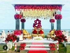 Indian Beach Wedding, Indian Wedding Theme, Desi Wedding Decor, Wedding Hall Decorations, Luxury Wedding Decor, Engagement Decorations, Wedding Mandap, Indian Wedding Receptions, Indian Reception