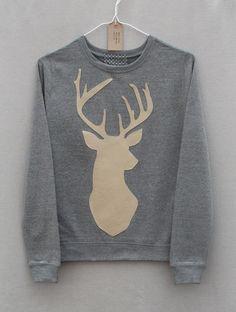 Leather Stag Deer Jumper Light Grey Heather Lightweight Crew Neck Sweatshirt on Etsy, $58.09