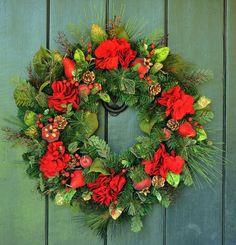 Christmas Eve - Hydrangea, Fruit and Pine Christmas Wreath, Hydrangea Wreath, Winter Wreath, Christmas, Holiday Decor, Christmas Decor