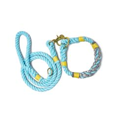 Goddess Aqua / Seal Gray & Yellow design rope leash by Lasso. High quality, handmade dog collar & leash set.