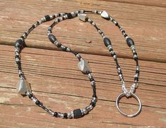 Beaded ID Badge Lanyard Necklace Black & Silver Nuggets Beaded Lanyard