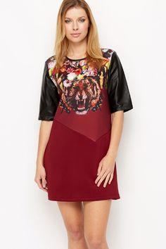 Tiger Floral Print Shift Dress