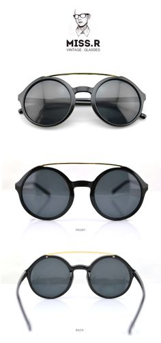 #Bright Black-Retro style glasses-Round sunglasses-metal bridge glasses -- Visit FUNMEMO.COM