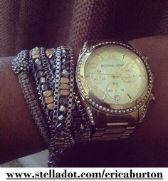 <3 Arm Candy!  The Sole Bracelet, Luna Wrap Bracelet & MK Watch!  Shop the bracelets here: www.stelladot.com/ericaburton