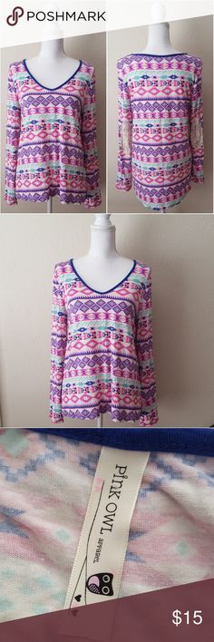"""Pink Owl Long Sleeve Knit Top Soft and stretchy Pink Owl long sleeve knit top with a lively print pattern and crochet elbow patches. Size: large, in EUC.  17"""" across from shoulders  22"""" across from armpits  25"""" length from shoulder to bottom hem  24"""" sleeves Pink Owl Tops Tees - Long Sleeve"""