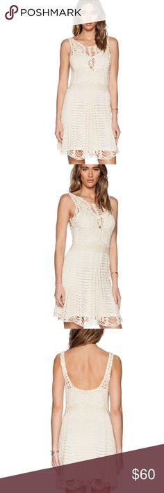 Free People Macrame Dress This dress from eclectic designers, free people, has us crushing on crochet like a woodstock wannabe. The woven detail over lining is set off by a scoop neck and spaghetti straps. Free People Dresses