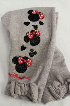 Disney Minnie Mouse Leggings 12M 12 Months Grey with Bows #Disney