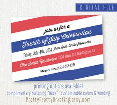 Printable Invitation for 4th of July Party by PrettyPrettyGreeting on Etsy