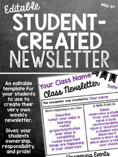 A product you can use ALL YEAR! This product contains the following: *Letter to students explaining what they need to do and the expectations behind creating the newsletter. *Example newsletters completed by my own class. *Three editable templates for your students to use.
