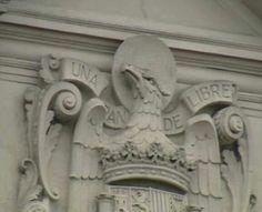 L'escut de l'Espanya de Franco al Palau de Capitania General de Barcelona. Juliol 2014
