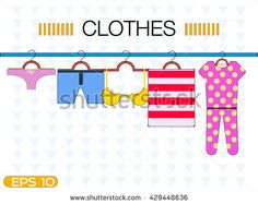 Diapers for children, underwear, bra, shorts, towels on a hanger. Clothes on hangers, vector illustration. clothes on a hanger. Summer clothes. Beach clothing on a hanger.set of clothes on a hanger.