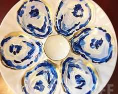 Pineapple Design, Oyster Shells, Shell Crafts, Ring Dish, Monogram Initials, Decoupage, Blue And White, Hand Painted, Plates