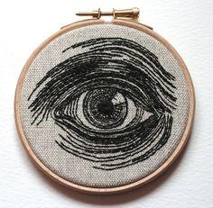 Human Eye Hand Embroidered Illustration Wall Plaque by Samskiart. $60.00, via Etsy.