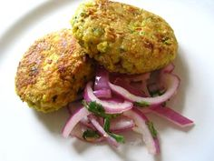 Spiced Chickpea Cakes with Red Onion and Coriander Salad.