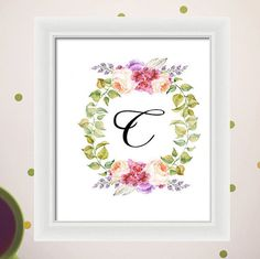 Watercolor Flower Wreath Initials Name Personalized Custom Printable Wall Art Home Decor Nursery Floral 5x7, 8x10 and 11x14 Instant Download