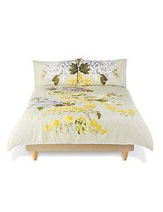 Gabrielle Floral Print & Embroidery Bedding Set   M&S