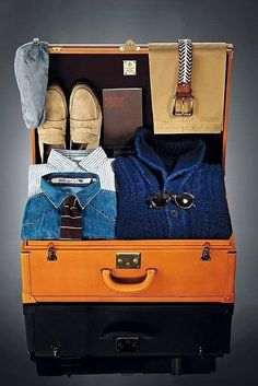 """""""Spring Essentials: Baggage Claim - a gentelman knows how to pack and knows in what to pack. Weekenders are ok for the weekend, but nothing beats a good old fashioned leather trunk or travel bag."""" The Dandy Diaries"""