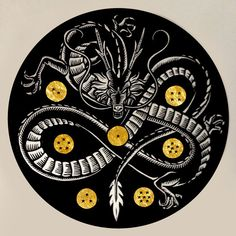 Shenron Linocut Print with Gold Leaf by WoodcutEmporium on Etsy, $50.00