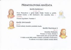 Přemyslovská knížata 1/3 (Kartičky o Historii - Doporučuji zafoliovat a pak chronologicky ukládat do pořadače) School Hacks, Teaching, Education, Art, Art Background, Kunst, Learning, Gcse Art, Educational Illustrations