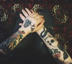 Traditional sleeves with skull, butterfly, flowers, and snake