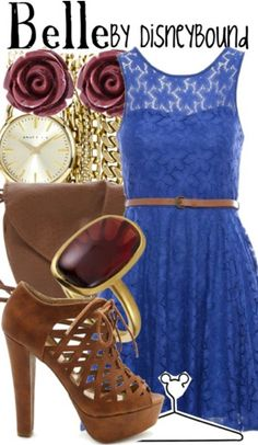 """""""Belle"""" ~ Based on Disney's classic Beauty and the Beast, comes this beautiful Spring attire inspired by everyone's favorite adventure-seeking Princess Belle. Designed by Leslie Kay or also known as the designer of Disneybound outfits. Can be found on Polyvore or her personal shop or tumblr account."""