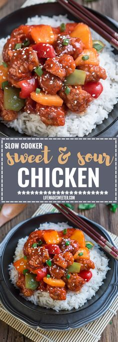Slow Cooker Sweet and Sour Chicken is the perfect homemade takeout dish made with authentic flavors using your crock-pot or Instant Pot pressure cooker. Best of all, it's so easy to make and way better and healthier than your local restaurant takeout!