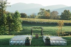 The rolling hills, vines, Blue Ridge Mountains.This ceremony site is just perfect. 😍 Photo by at Vineyard Wedding Venues, Wedding Ceremony, Wedding Day, Shenandoah Valley, Blue Ridge Mountains, Southern Weddings, Perfect Photo, Countryside, Vines