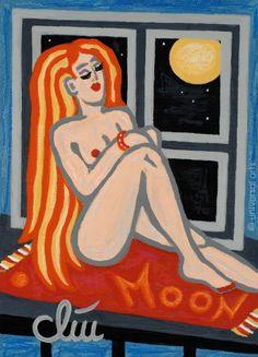 JACQUELINE DITT - Moonlight Tanning 2016 Miniatur Gemälde Bilder Akt nude girl