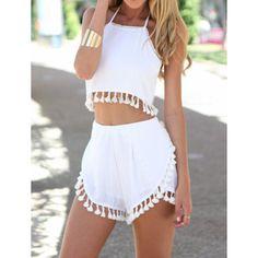 $16.40 Stylish Halter Sleeveless Crop Top   Fringe Embellished Shorts Women's Twinset