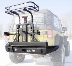 Offroad Jeep CJ Xpedition Series Bumper/Tire Carrier w/ Trail Rack & Jerry Can Mounts Jeep Jk, Acessórios Jeep Wrangler, Jeep Wrangler Unlimited, Jeep Truck, Jeep Wrangler Accessories, Jeep Accessories, Offroad Accessories, Accessoires 4x4, Patrol Y61