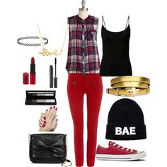 red and black by feisty-kat on Polyvore featuring polyvore fashion style Polo Ralph Lauren Converse Sam & Libby Minnie Grace Topshop Domo Beads shu uemura Laura Mercier Rimmel