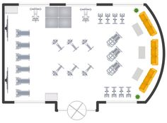 Gym layout plan, window, casement, weight bench, wall, vending machine, upright bicycle, treadmill, stair stepper, sofa, rowing machine, revolving door, rectangular table, table, mat, house plant, potted plant, flat screen TV,
