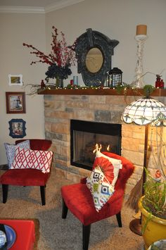 Fire place mantel. Nature inspired, and non-traditional red, white and blue décor. Decor and design by Sharon McBride of All That Nonsense.