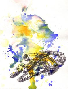 Star Wars Art Millenium Falcon Watercolor Painting - Fine Art print 13 x 19 in. Star Wars Poster Print