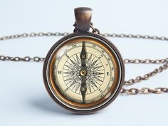 Compass Jewelry, Compass Necklace, Men Necklace, Jewelry Necklaces, Beaded Bracelets, Clock Necklace, Pendant Necklace, Antique Jewelry, Vintage Jewelry