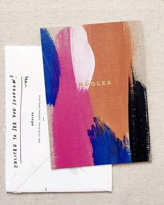 Gorgeous hand-painted #invitation. Love the personalized envelope back!