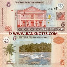Suriname 5 Dollars 2004  Obverse: Arms. Central Bank building in Paramaribo. Nymphaea missouri flower. Central Bank logo see-through registration device. Reverse: Coconut palm (Cocos nucifera). Gran Rio Sula (rapid). Watermark: Central Bank building. Signature: André Telting (President). Date of Issue: 1 January 2004.