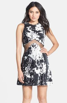 Dress the Population 'Tara' Sequin Mesh Inset Fit & Flare Dress available at #Nordstrom