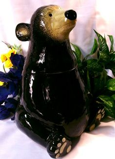 Silhouette Black Bear Cookie Jar