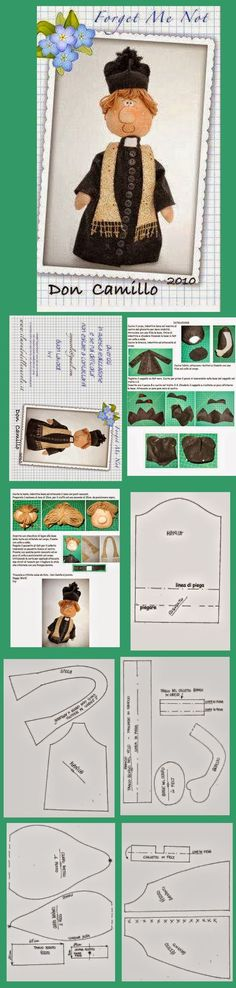 Padre Doll Clothes Patterns, Doll Patterns, Fabric Patterns, Doll Crafts, Diy Doll, Fabric Dolls, Fabric Art, Guys And Dolls, Sewing Toys