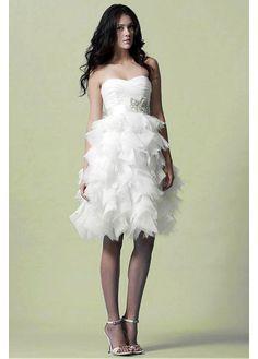 Lovely Organza Satin & Tulle & Satin Ball gown Strapless Sweetheart Neckline Natural Waist Ruffled Beaded Short Knee Length Wedding Gown