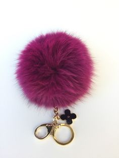 14a8a9d398 Winter Fox color collection Dark Pink Pompon bag charm pendant fox Fur Pom  Pom keychain with flower charm