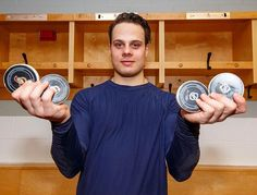 Making his NHL debut, Auston Matthews of the Toronto Maple Leafs poses with the 4 pucks with which he scored his first career NHL goals after a game against the Ottawa Senators during the season. Get premium, high resolution news photos at Getty Images Maple Leafs Hockey, Hockey Pictures, Hockey Season, Skater Boys, Nhl Games, Carolina Hurricanes, All That Matters, National Hockey League, Toronto Maple Leafs