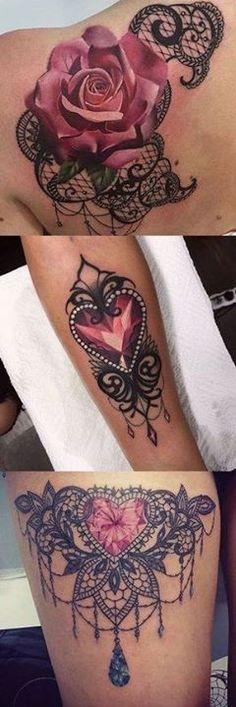 Lace Tattoo Ideas for Women at MyBodiArt.com - Heart Diamond Chandelier Thigh Tatt - Pink Rose Shoulder Tat http://ift.tt/2Ctyu5g #tattooideas